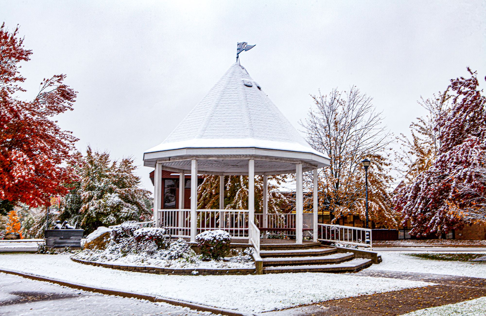 Photo of the Gazebo in Winter 2021 with snow