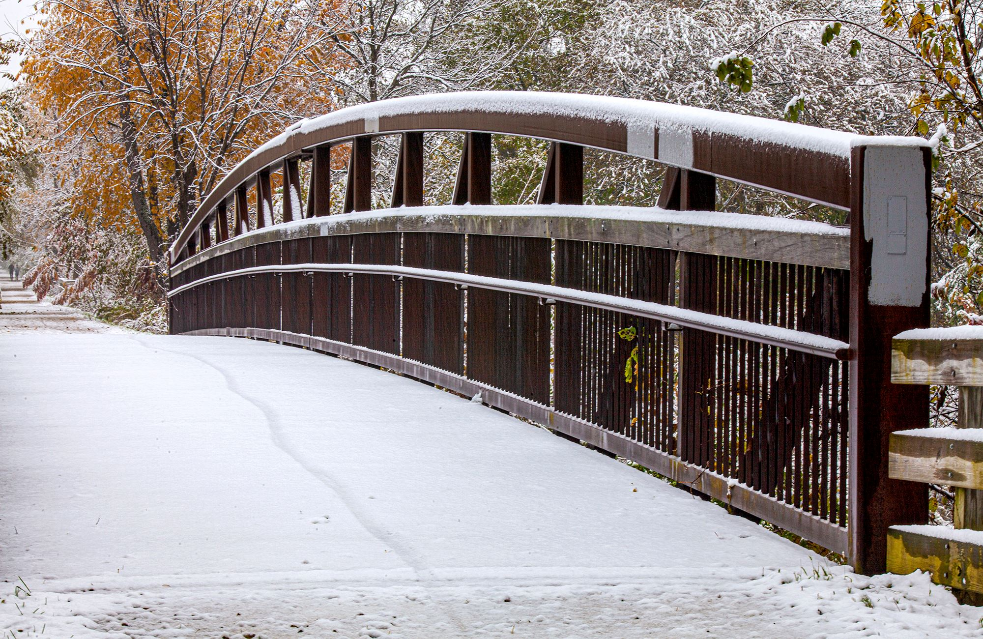 Photo of Prairie Path bridge in Warrenville with snow