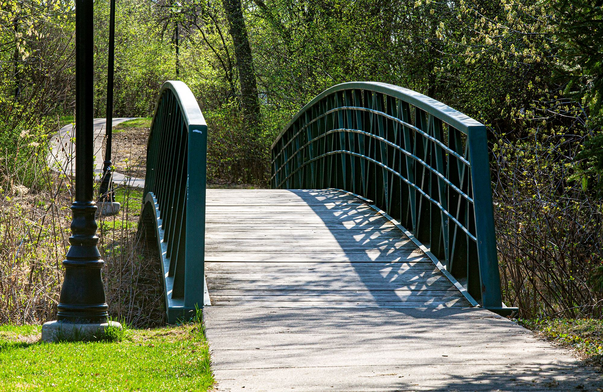 Photo of the Warrenville Foot Bridge in Spring 2021